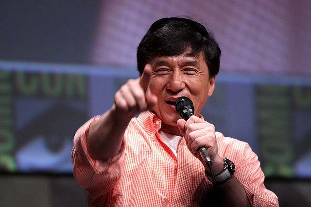 Jackie Chan speaking at the 2012 San Diego Comic-Con International in San Diego, California. Photo by Gage Skidmore.